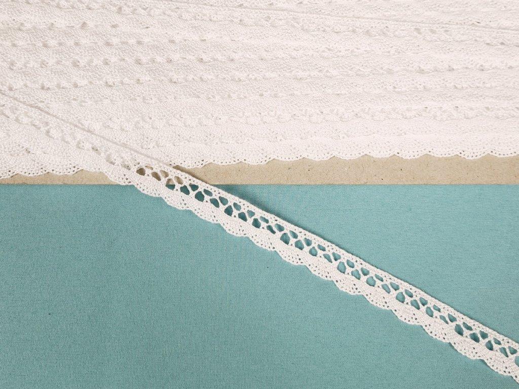 Bavlněná krajka paličkovaná 10 mm - bílá