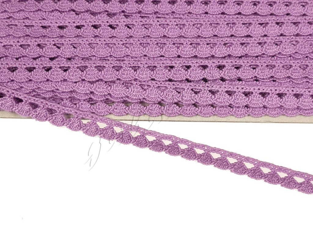 Bavlněná krajka paličkovaná 9 mm - fialová