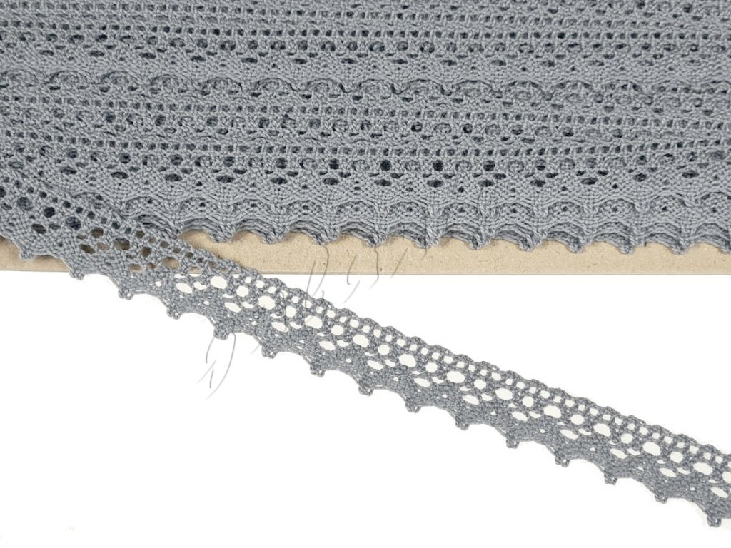 Bavlněná krajka paličkovaná 20 mm - šedá