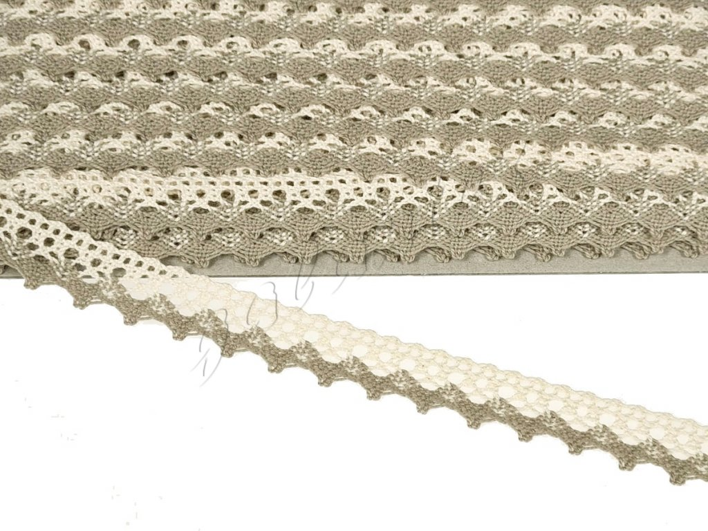 Bavlněná krajka paličkovaná 20 mm - béžová/ecru