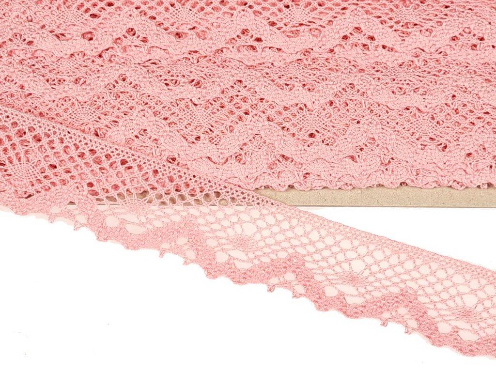 Bavlněná krajka paličkovaná 40 mm - růžová