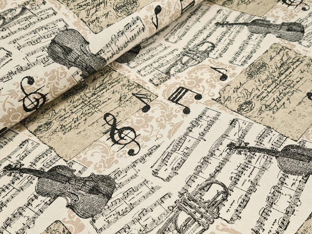 Dekorační látka - Hudební nástroje na béžové