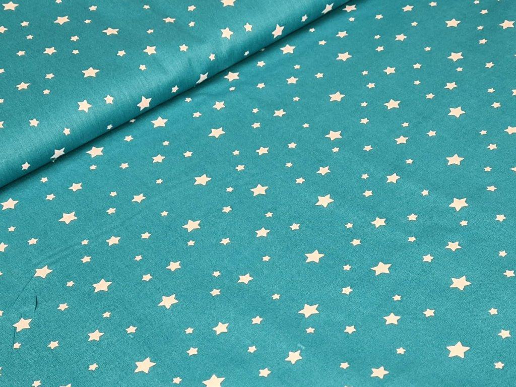 Bavlněné plátno - Hvězdičky na tm. tyrkysové