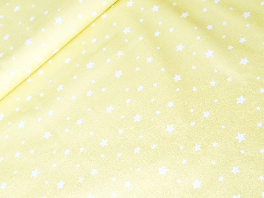 Bavlněné plátno - Hvězdičky na pastelově žluté