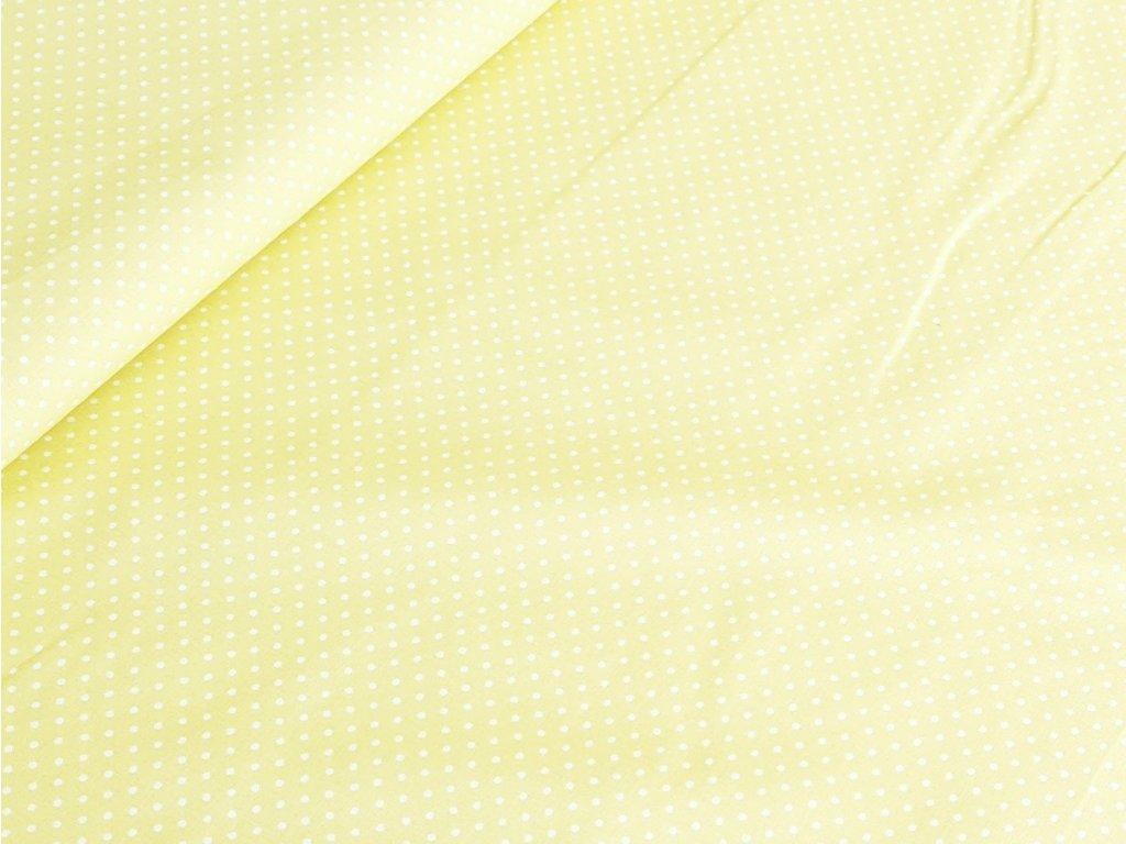 Bavlněné plátno - Puntík 2 mm na pastelově žluté