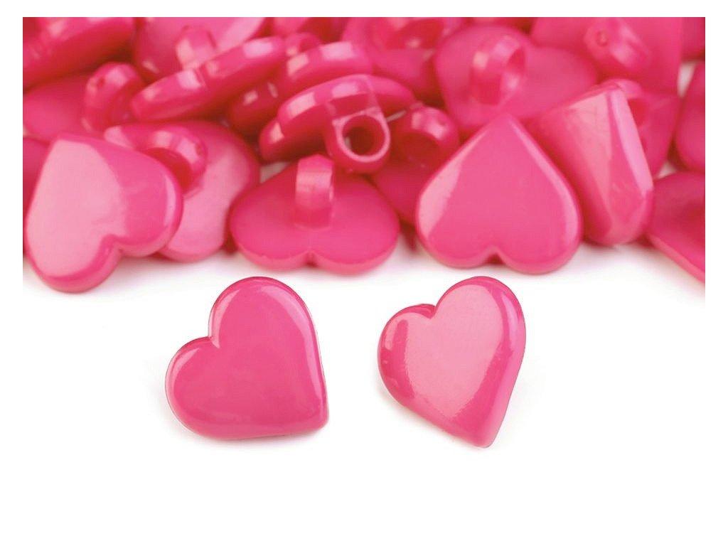 """Knoflík plastový 24"""" Srdce - růžová tmavá"""