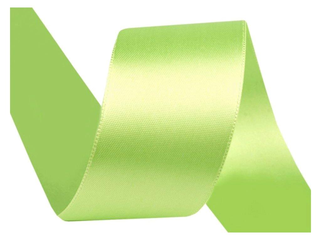 Atlasová stuha oboulící šíře 40 mm - zelená jablková
