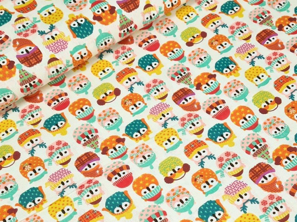 Bavlněné plátno - Zimní sovičky na smetanové