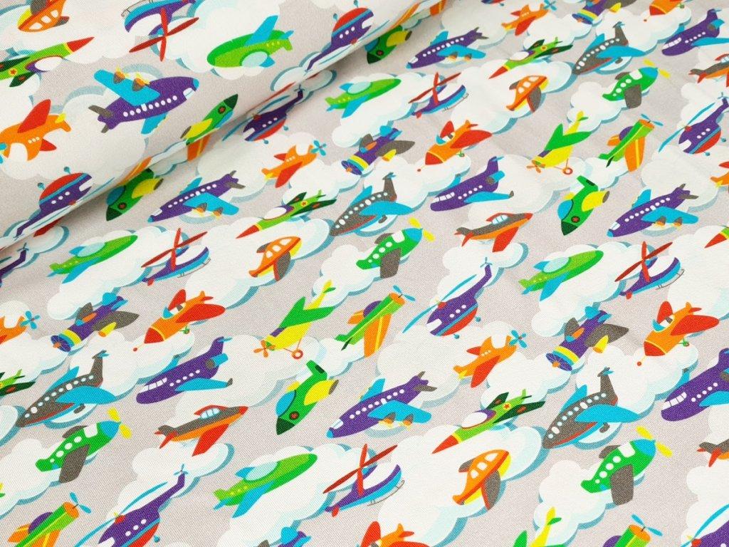 Jednolícní elastický úplet - Letadla na světle šedé