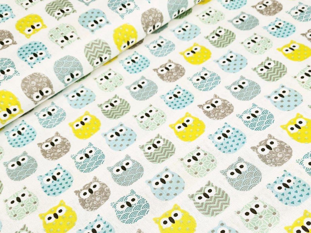 Bavlněné plátno - Sovičky v řadách (žlutá, šedá, mentol)