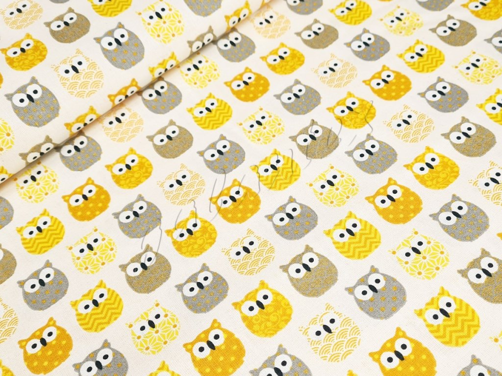 Bavlněné plátno - Sovičky na smetanové (žlutá, šedá)