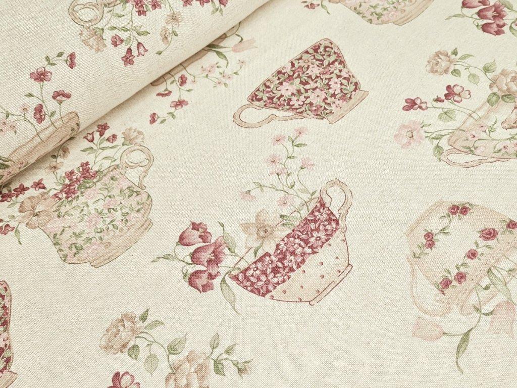 Dekorační látka - Květinové hrnečky na béžové