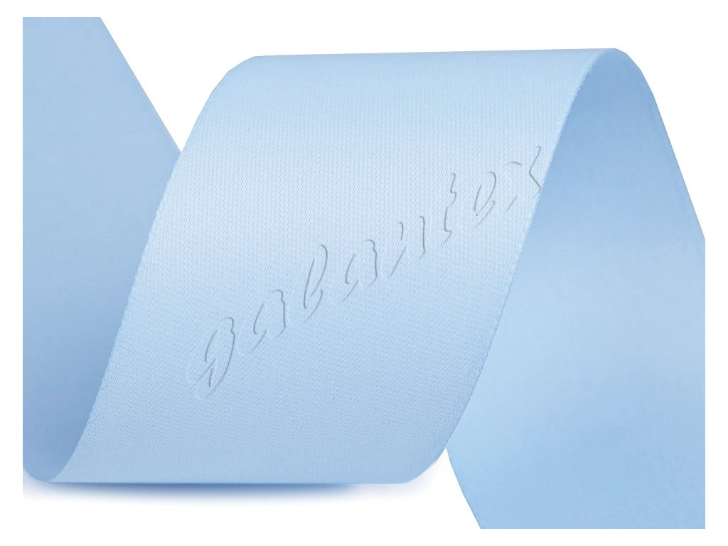 Atlasová stuha oboulící šíře 40 mm matná - modrá světlá
