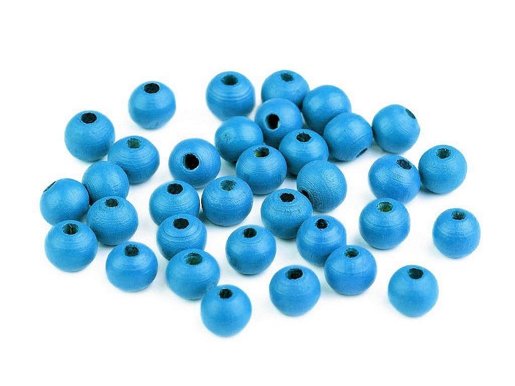 Korálky dřevěné kulička 8 mm (50 kusů) - modré