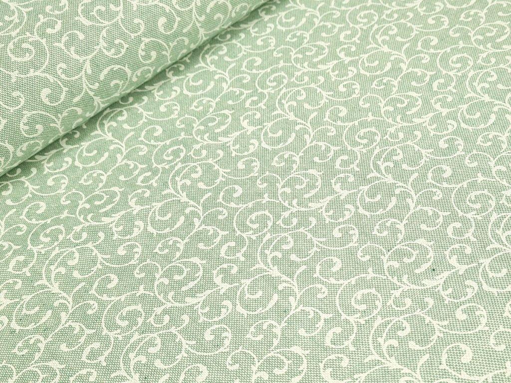 Dekorační látka - Ornamenty na pastelově zelené