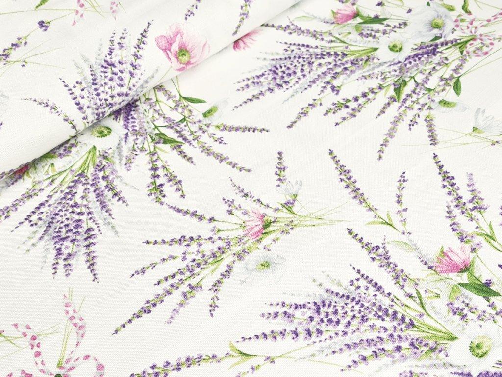 Dekorační látka - Levandule na bílé