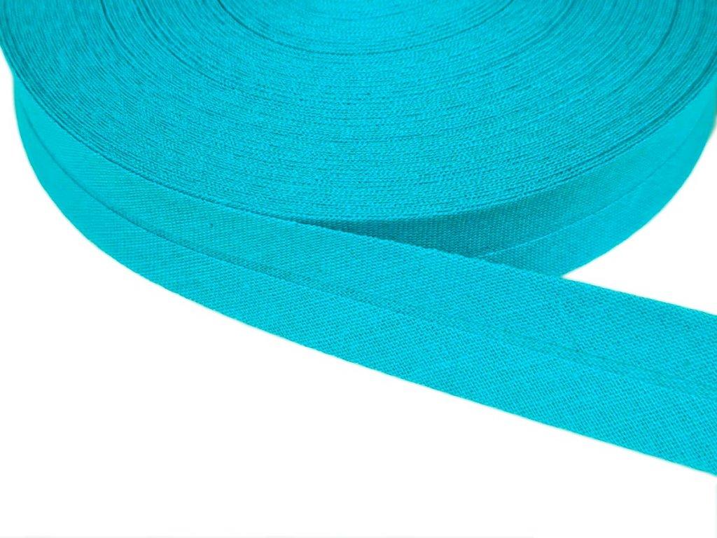 Šikmý proužek bavlněný šíře 20 mm - tyrkys