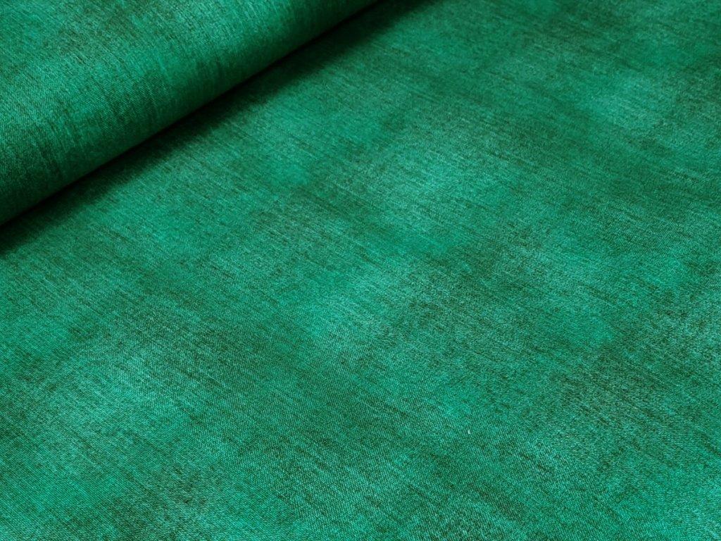 Elastická teplákovina DIGI - smaragdově zelená džínový efekt