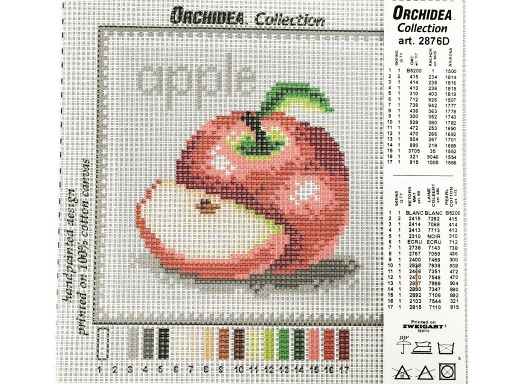 Předloha vyšívací 15 x 15  cm - Jablko