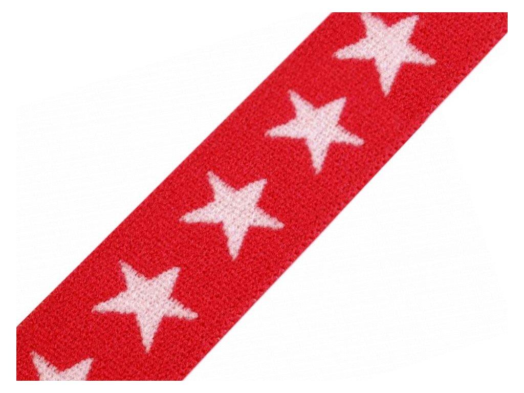Pruženka vzorovaná 20 mm hvězdy - červená