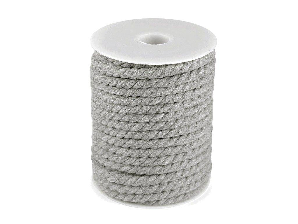 Šňůra bavlněná kroucená 8 mm - šedá