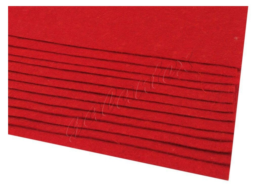 Látková dekorativní plsť 20x30 cm - červená tmavá