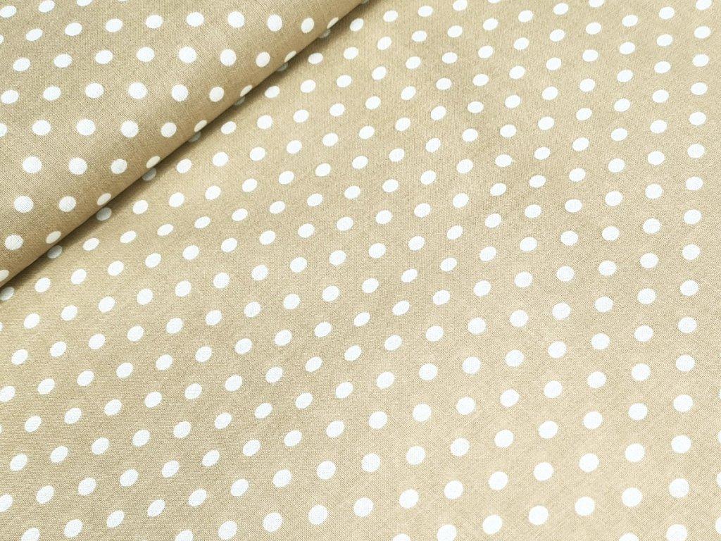 Bavlněné plátno - Puntík 6 mm na béžové