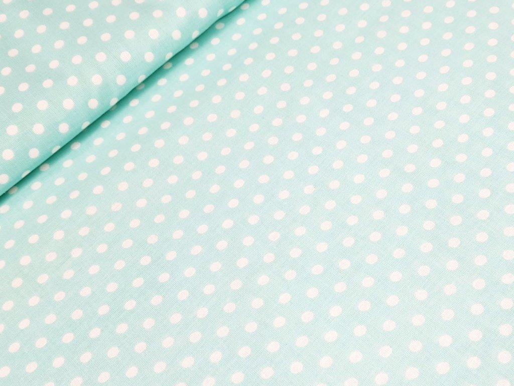 Bavlněné plátno - Puntík 6 mm na mentolové
