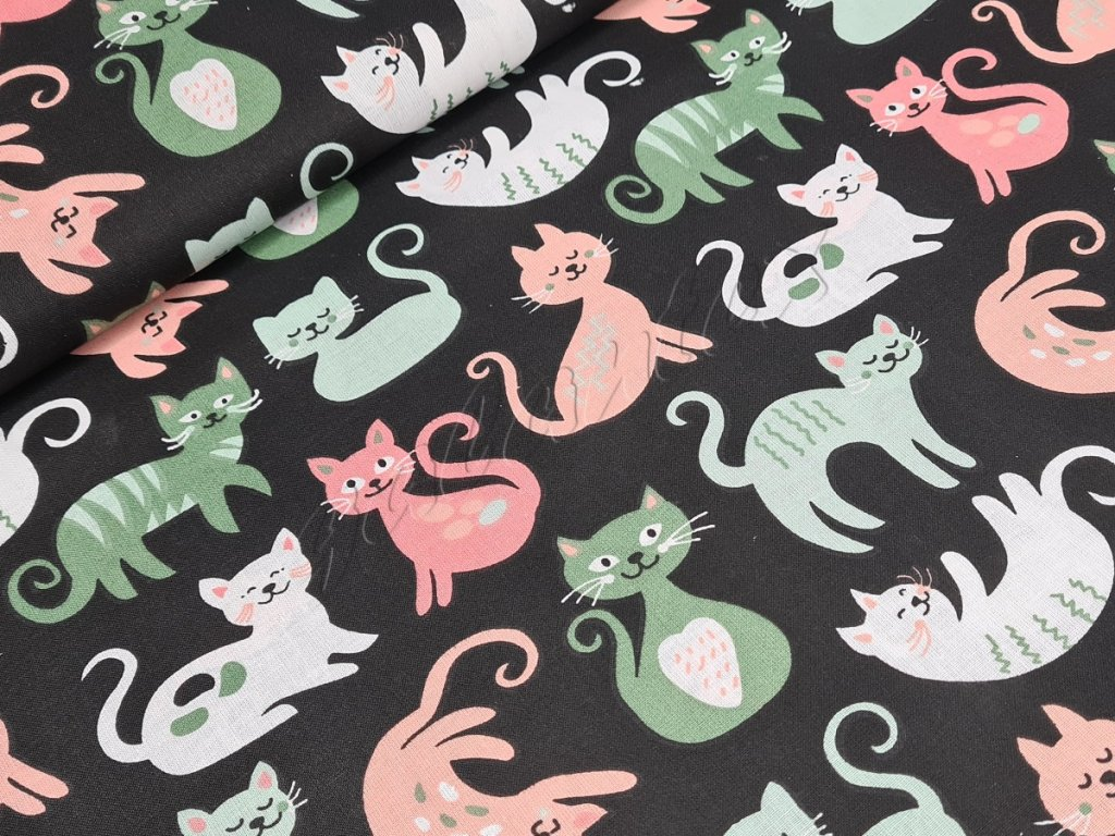 Bavlněné plátno - Kočky na černé