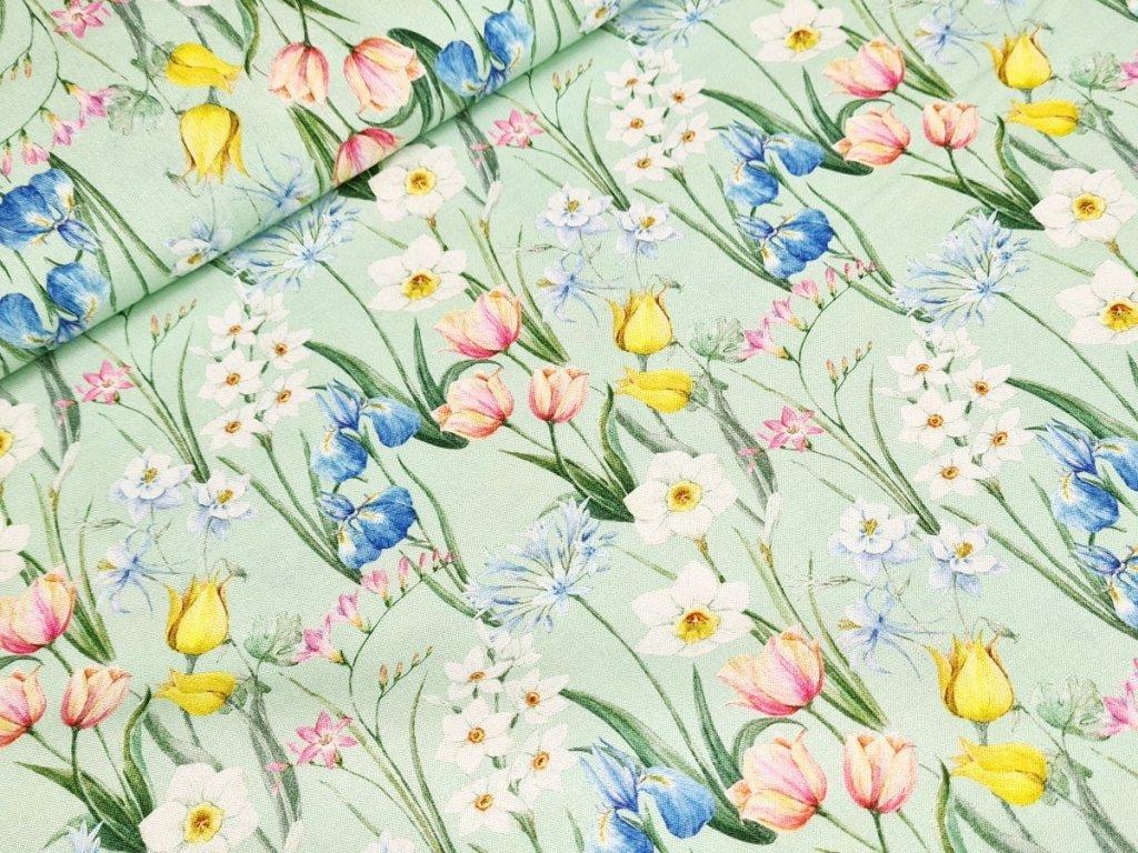 Bavlněné plátno - Květiny na světle zelené