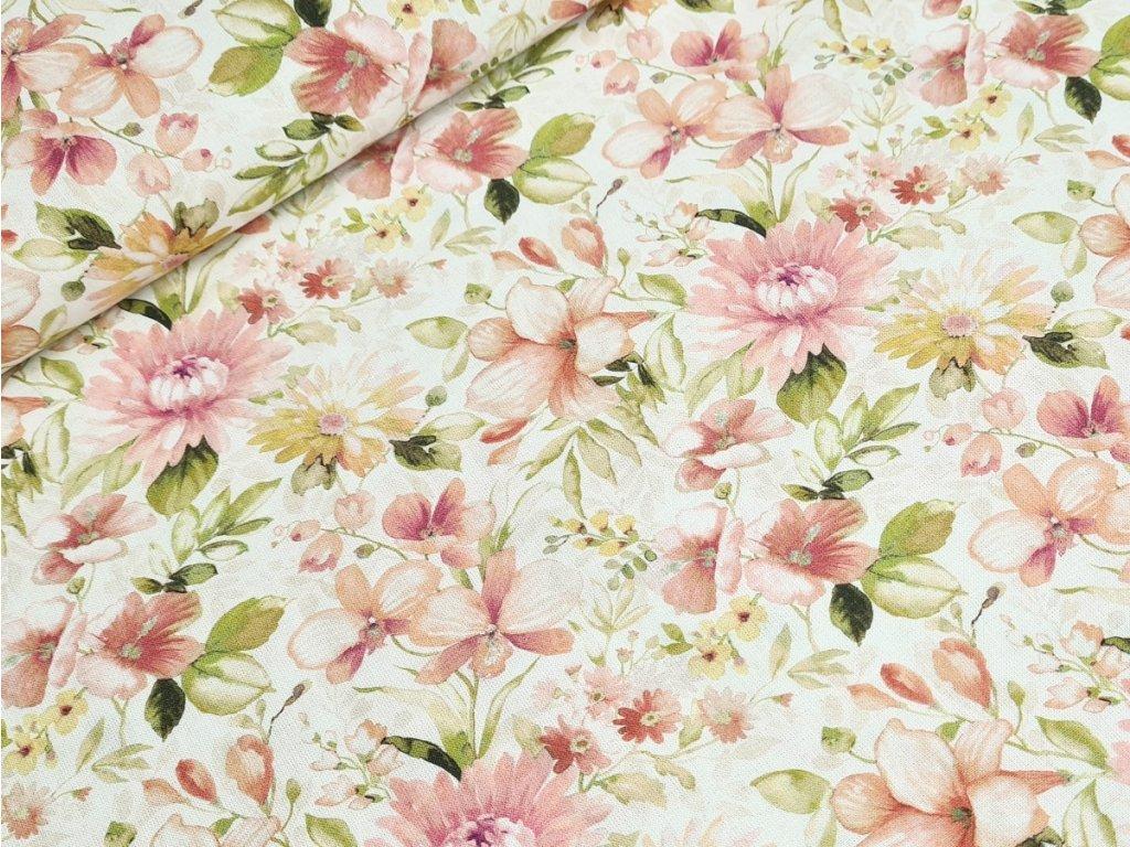 Bavlněné plátno - Květy na krémově bílé