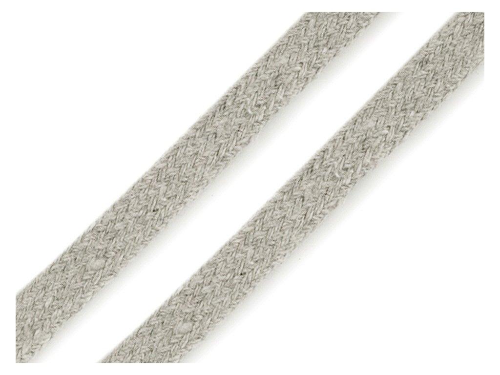 Oděvní šňůra plochá 8 mm - šedá světlá