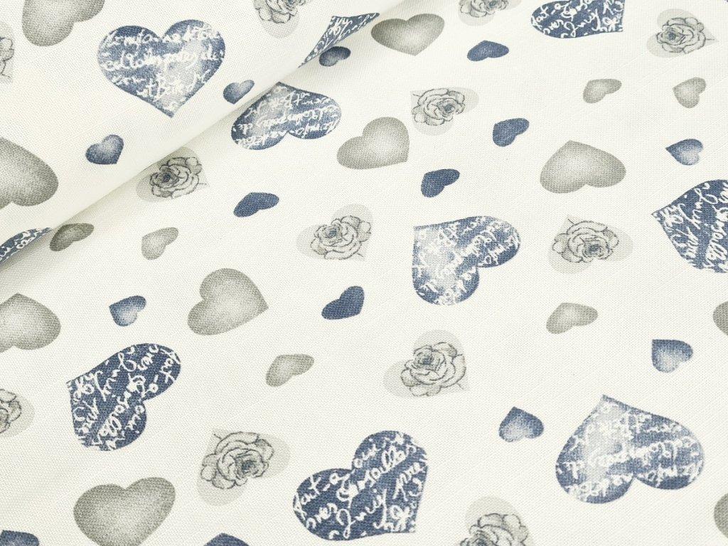 Dekorační látka - srdce na krémově bílé