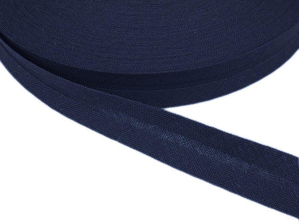 Šikmý proužek bavlněný šíře 14 mm - modrá temná