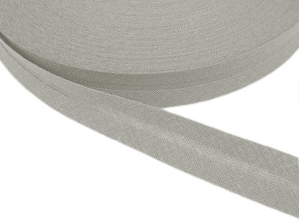 Šikmý proužek bavlněný šíře 14 mm - šedá