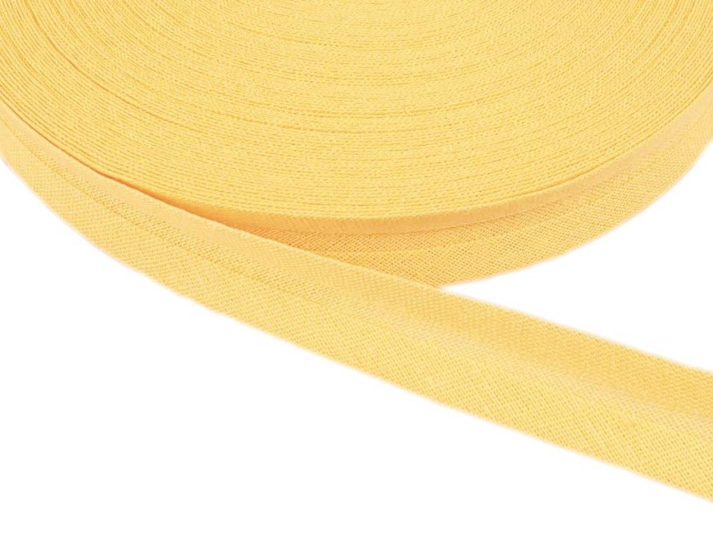Šikmý proužek bavlněný šíře 14 mm - žlutá pastelová