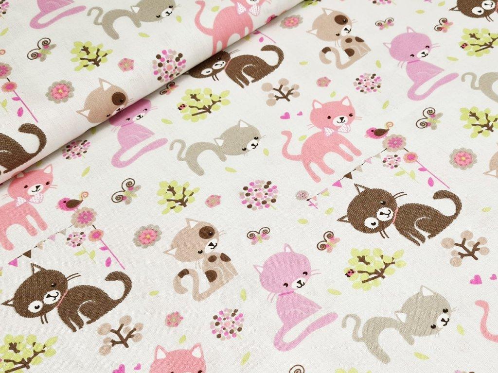 Bavlněné plátno - kočky na šedobéžové