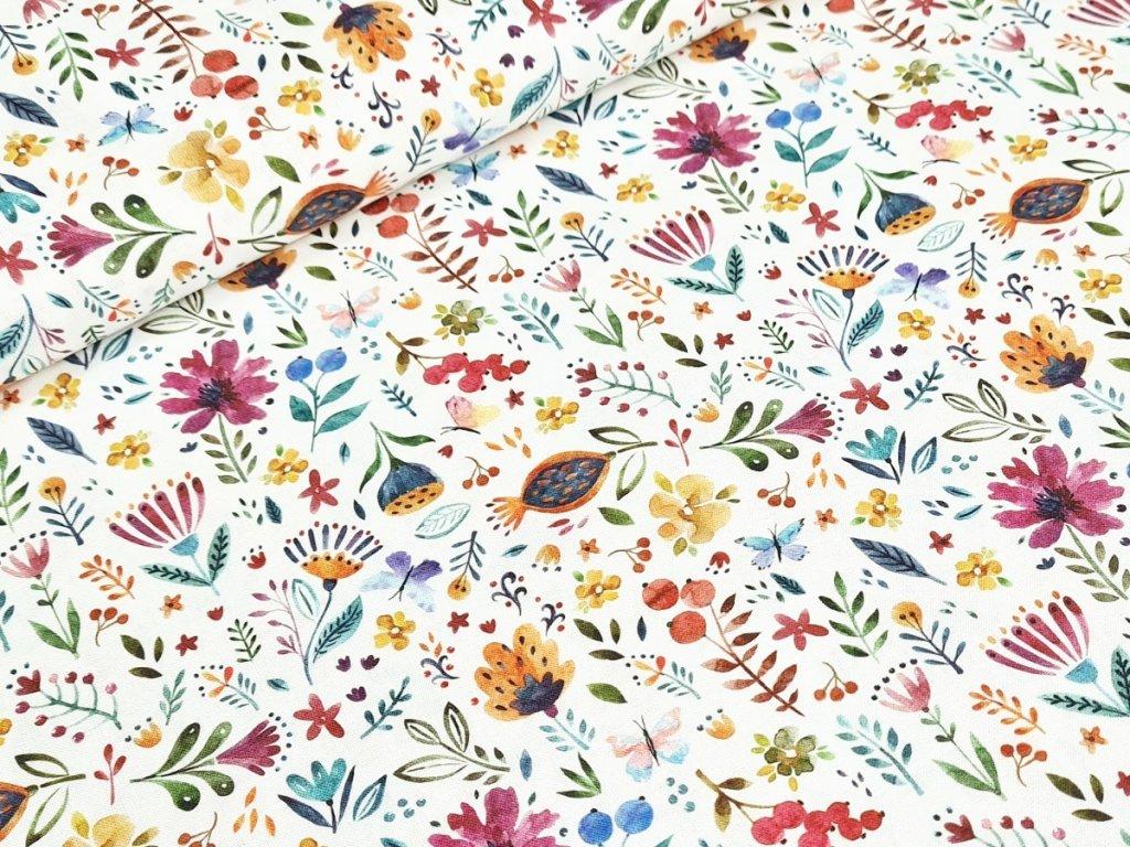 Bavlněné plátno - Malované květy na bílé