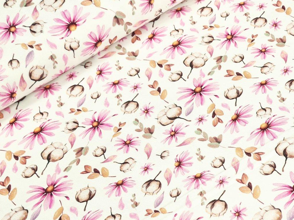 Jednolícní elastický úplet DIGI - Bavlník a květy na bílé