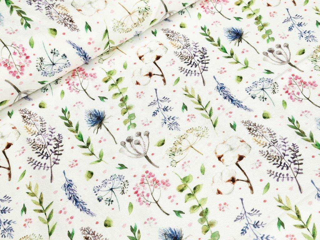 Jednolícní elastický úplet DIGI - Květy na bílé