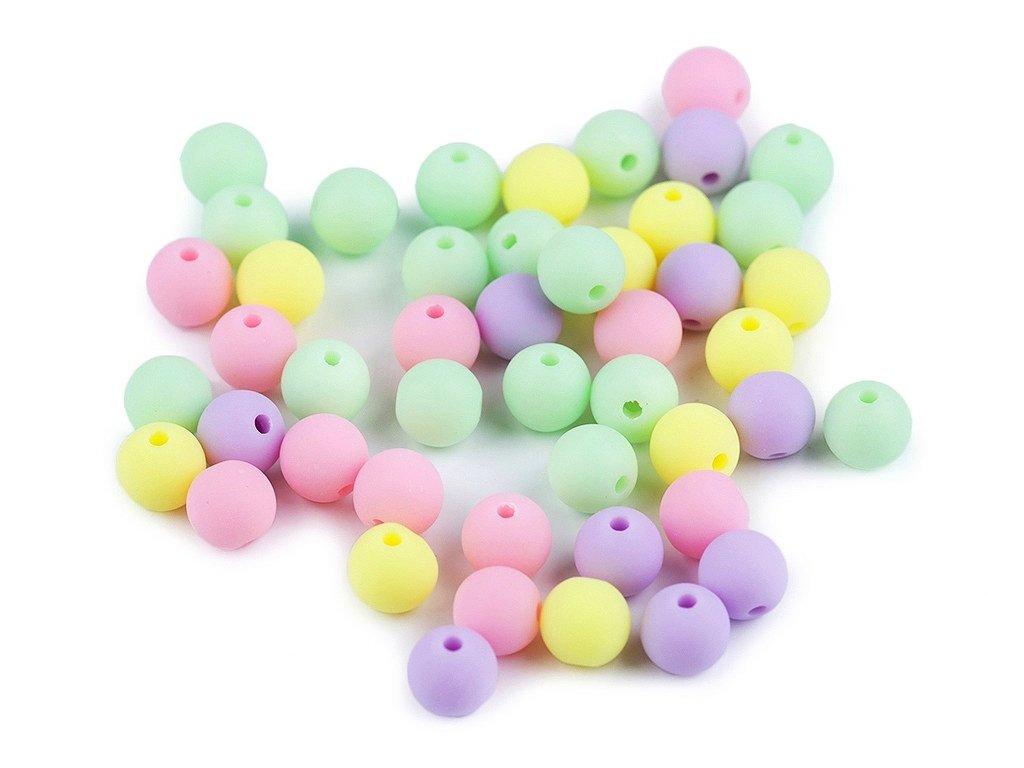 Korálky plastové 8 mm kuličky matné - mix 3 (30kusů)