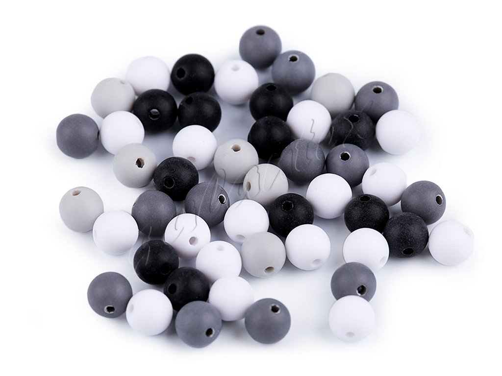 Korálky plastové 8 mm kuličky matné - mix 7 (30kusů)