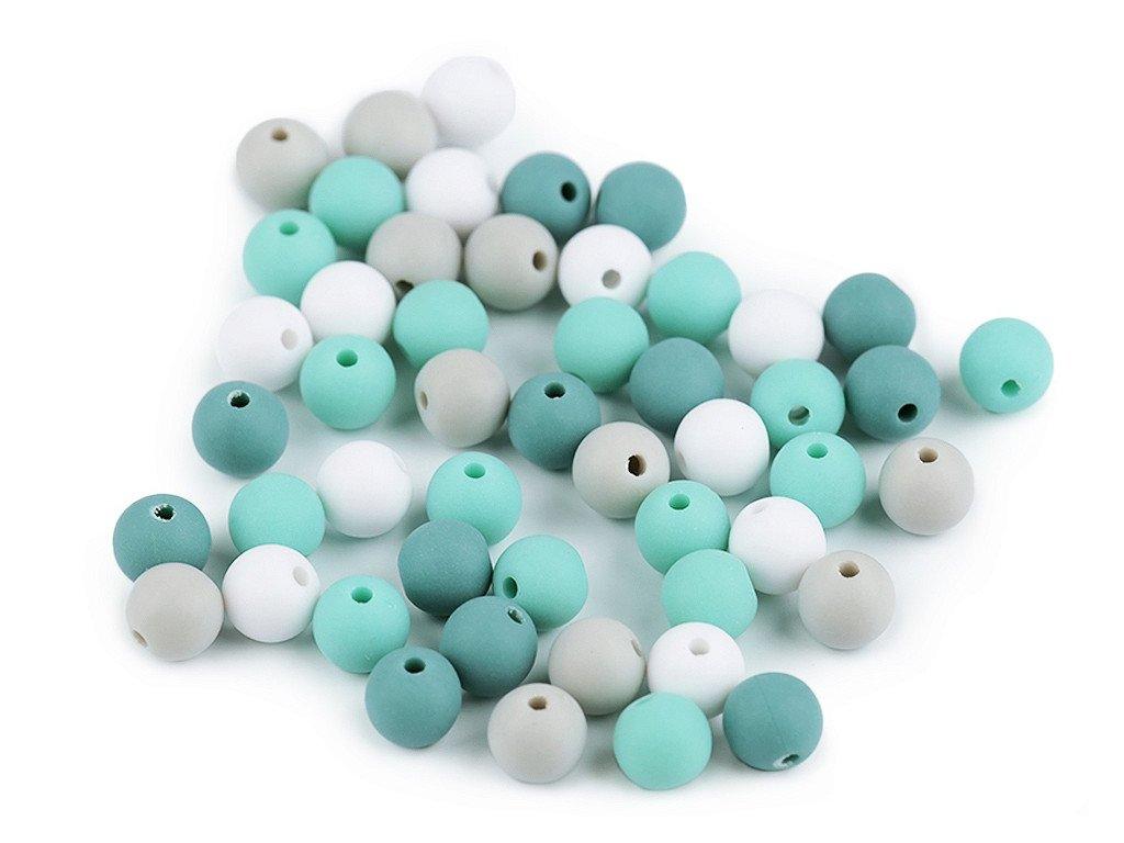 Korálky plastové 8 mm kuličky matné - mix 6 (30 kusů)