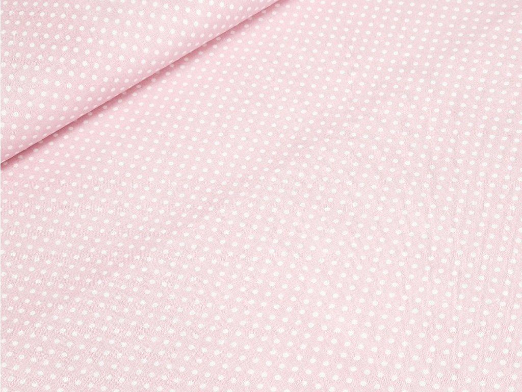 Bavlněné plátno - Puntík 2 mm na pastelově růžové