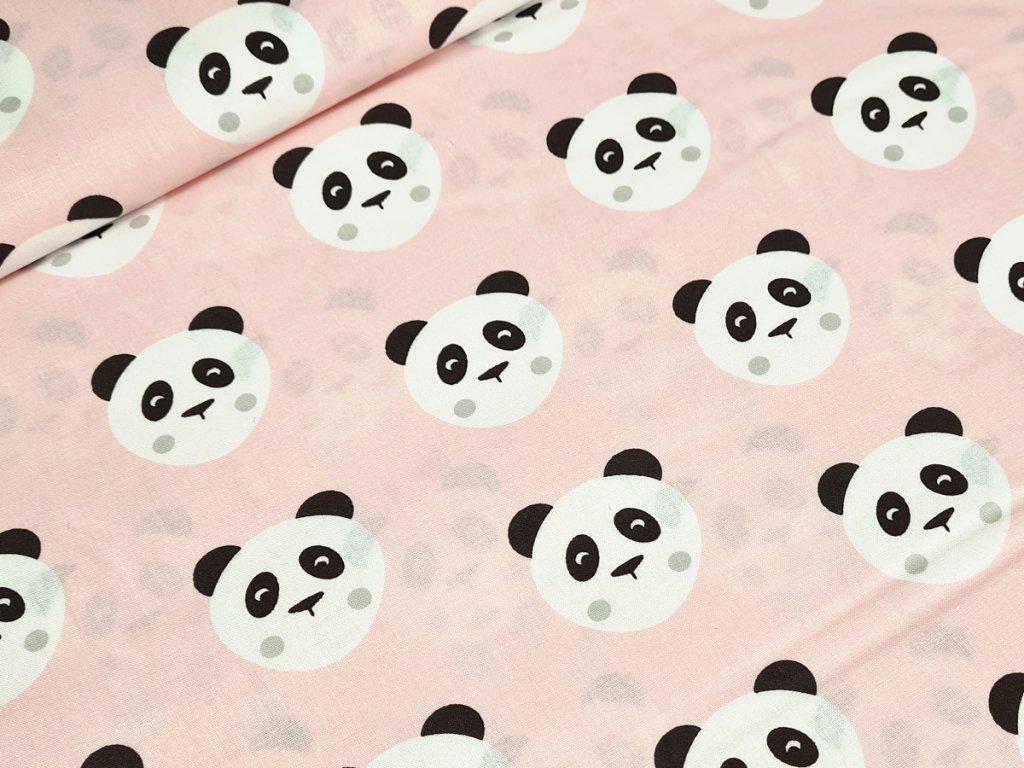 Bavlněné plátno - Panda na světle lososové