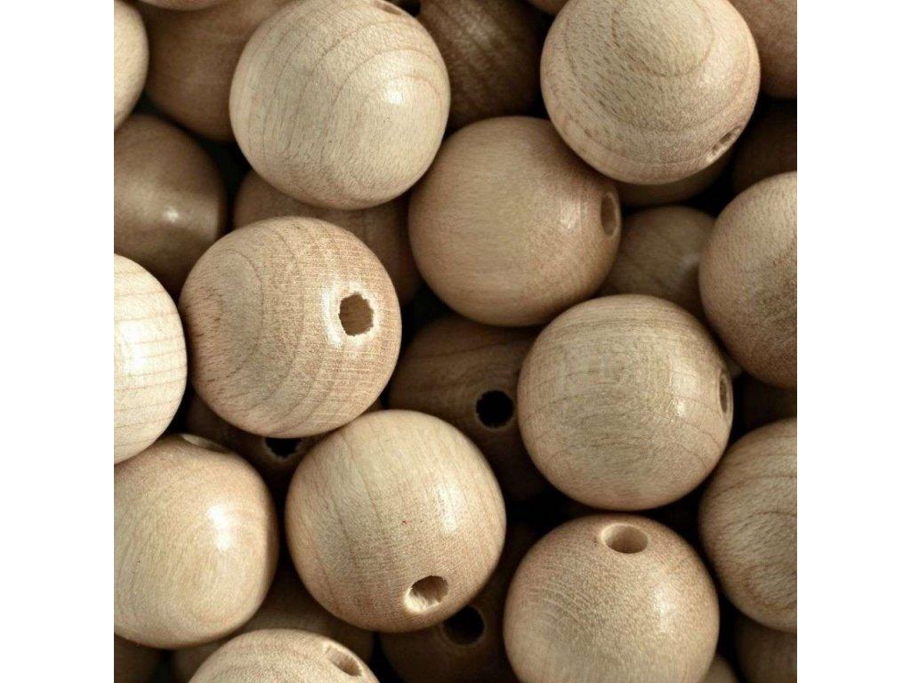 koralky drevene prirodni vel 16mm