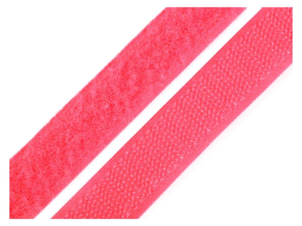 Suchý zip šíře 20 mm komplet - růžová neon