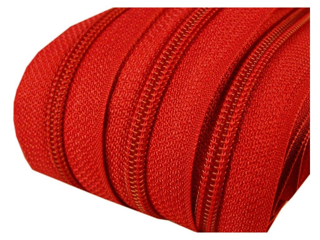 Zip spirálový 5 mm metráž - oranžovočervená
