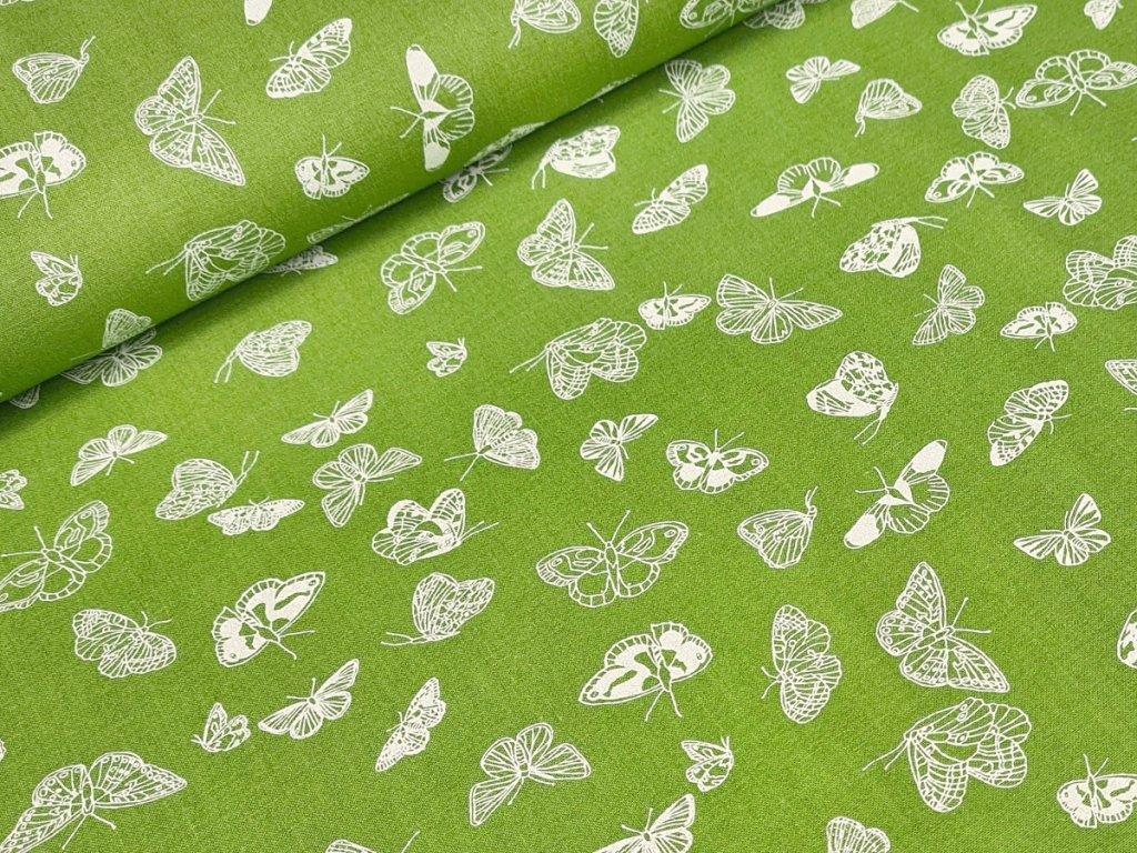 Bavlněné plátno - Motýli na hráškově zelené