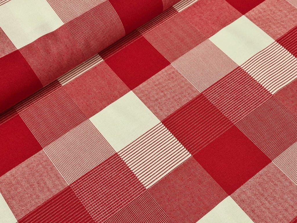 Bavlněné plátno - Čtverce na tmavě červené